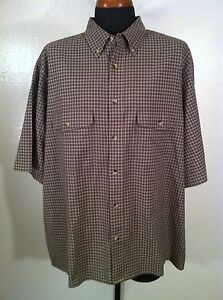Mens WOOLRICH Extra Large Tall Brown Button Front Oxford Shirt Very Nice !