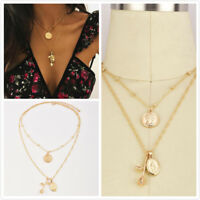 Fashion Gold Plated Women Jewelry Long Multi-layer Rose Flower Pendant Necklace