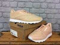 REEBOK LADIES UK 7 EU 40.5 NEUTRAL PEACH LEATHER SUEDE CLASSIC TRAINERS RRP £80