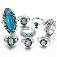 8pcs Boho Stack Plain Above Knuckle Ring Turquoise Midi Finger Rings Set Jewelry
