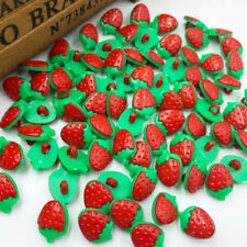 100x Red Cartoon strawberry plastic buttons Applique DIY Craft sewing PT37