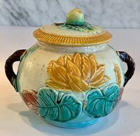 Antique Majolica English Pond Lily Rope Sugar Bowl Fruit Finial 19thC