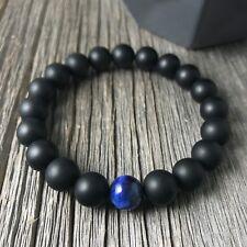 Men's Beaded Stretch Onyx Bracelet With Single Blue Tiger Eye Bead