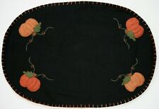 Hand Sewn Embroidered Halloween & Fall Pumpkins Placemats Set of 2 Gorgeous!