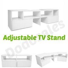 White TV Stand Adjustable Entertainment Unit Corner Shelf Drawer Storage Living