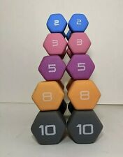 CAP Hex Neoprene Dumbbell Weights Set (10 8 5 3 2 lbs) - Total 56 Pounds - NEW