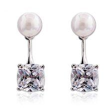 Sterling Silver 925 Fresh Water 5mm White Pearl & Cubic Zirconia 2 in 1 Earrings