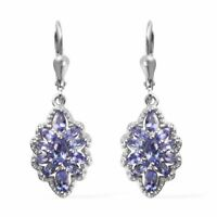 Dangle Drop Earrings 925 Sterling Silver Platinum Plated Blue Tanzanite Jewelry
