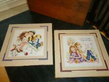 "2 First Love Young Teen Tween Boy & Girl Matted 12"" Square Finished Cross Stitch"