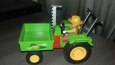 playmobil tracteur vert avec benne avant et fermière