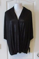 Jennifer Lopez Black Foil Dolman Sleeve Blouse Women's PLUS Sz. 2X NWT MSRP$54