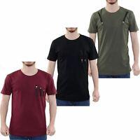 Men T Shirts Half Sleeve Crew Neck Multy Zip Pocket Casual Shirt Tee Top