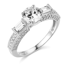2.70 Ct Round & Baguette Engagement Wedding 3-Stone Ring Real 14K White Gold