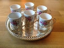 Vintage Enoch Wedgwood Tunstall Ltd ( 6 Floral Cups with Metal Holders & Tray )