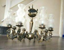 Rare Large Italian Chandelier Cast Bronze 1950s Brass 8 Lights
