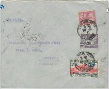 65248  - TUNISIA -  POSTAL HISTORY: FIRST FLIGHT COVER to CATANIA Italy 1937