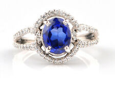 1.80Ct Natural Blue Tanzanite & EGL Certified Diamond Ring In 14KT White Gold