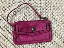 Coach Magenta Pink Suede Leather Wristlet Turnlock Clutch