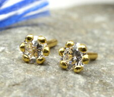 Indian Style CZ Studded earrings studs 14k Solid Real yellow Gold Push Pin