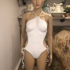 Frankies bikini One piece crocheted halter size lg