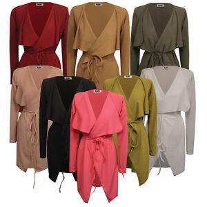UK Womens Ladies Belted Long Sleeve Waterfall Duster Coat/ Jacket