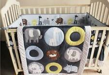 New 7PCS Boys Baby Bedding Set Animals Zoo Nursery Quilt Bumper Sheet Crib Skirt