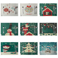 EE_ AM_ CHRISTMAS TREE SNOWMAN SANTA CLAUS PLACEMAT DINING TABLE INSULATION MAT