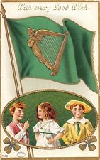 D44/ St Patrick's Day Holiday Postcard c1910 Belleville Illinois Flag Kids 5