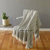 Indian Hand Woven 100% Cotton Tassel Sofa Bed Chair Throw Over Blanket Cover 60""