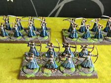 WARHAMMER LOTR - WELL PAINTED LAST ALLIANCE ELVEN REGIMENTS & TRAYS