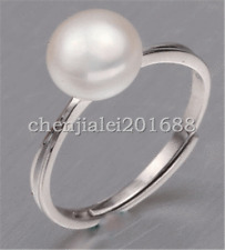 genuine natural 8-9mm freshwater Pearl 925 Sterling silver Adjustable ring
