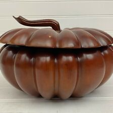 Carved Dark Wood Covered Pumpkin Candy Nut Bowl 9 inch Vietnam Do Go My Nghe