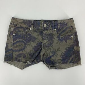 American Eagle Womens Paisley Stretch Corduroy Shorts Size 2 Cut Off Gray Casual