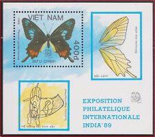 VIETNAM Bloc N°47** Bf  Papillons, 1989 Vietnam 1931 Butterflies India 89 MNH
