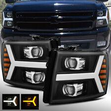 For 2007-2013 Silverado Black LED DRL/Signal LED Tube Dual Projector Headlights