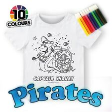 Kids Colouring in PIRATE SHARK T-SHIRT + 10 washable pens Re-usable
