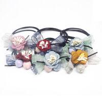 Bandes Élastiques Cheveux Clips Les Filles Lot de 6 pcs - Noeuds fleur en tissu