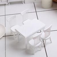 1/12 Esstisch Stuhl Modell Set Puppenhaus Miniatur Möbel, Weiß