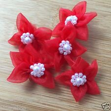 5 sheer organza poinsetta bows with pearl centre 40mm wide