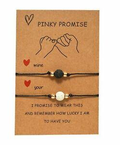 Pinky Promise Lava Stone Bracelets 2pcs Friendship Lover Couple Card
