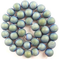 10mm Titanium Crystal Agate Druzy Quartz Geode Stone Round Ball Loose Bead R9265