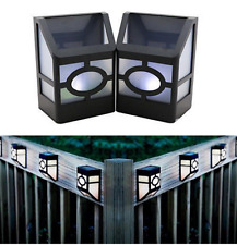 Solar Powered Wall Mount LED Light Outdoor Fence Post Landscape Garden Lamp