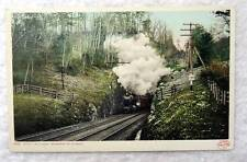 POSTCARD RAILROAD TRAIN STATE LINE TUNNEL BERKSHIRE HILLS MASSACHUSETTS #KA89