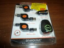 Grandmax 3.5mm/Mini/Micro Retractable USB Car/AC Combo Charger Mobile Pack