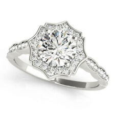 Halo Engagement Ring White Gold Forever One Round Moissanite Scalloped Diamond