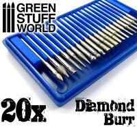 Set di 20 Frese Diamantate - 20 punte da 3,2 mm - trapani a mano - fresatrici