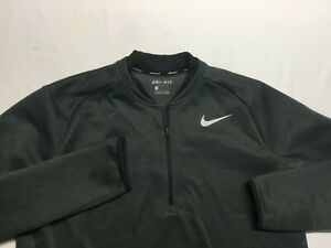 NIKE DRI-FIT Men's L/S Poly Spandex 1/4 Zip Pullover Gray Size Large