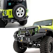 HD Rock Crawler Front+Rear Bumper+Hitch+Winch Plate+ For 07-18 Jeep Wrangler JK