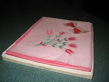 "Pretty Sheer Pink Vintage Embroidered Linen Cover (35"" x 36"") In Original Box"