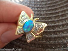 6 3/4 Vintage 14K Yellow Gold Peacock Blue Lab Opal Detailed Butterfly Ring